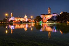 North And South Block. (nimitnigam) Tags: delhi new india reflection reflecting mydelhimyview nimit nigam nikon d800 nikkor 2470mm f28 indian long exposure longexposure night nightscape nightscapes nights nightphoto nightphotos nightphotography north south block central secretariat architecture gate rajpath background backgrounds wallpaper wallpapers