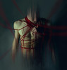 (Wendy Lu.) Tags: wendylu canon5d macabre eerie creepy surreal dark art fantasy mysterious male shirtless portrait red threads yarn blood bloody horror missing limbs dripping tangled cool man faceless bizzare nightmare chained up tied