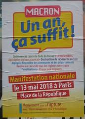 Macron, un an ça suffit (emmanuelsaussieraffiches) Tags: affiche politique political poster mouvementpourlaruptureaveclunioneuropéenneetlaverépublique partiouvrierindépendantdémocratique