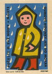 czechoslovakian matchbox label (maraid) Tags: czechoslovakian matchbox label czechoslovakia packaging czech job person 1963 uuzo 1960s raincoat kid rain child boots wellies rubber wellingtonboots