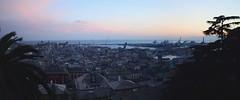 Panoramic view on Genoa (moniq84) Tags: panoramic view genoa port sunset sunrise blue hour landscapes seascapes liguria italia italy sea sky tree city cityscapes