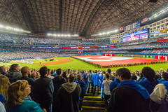 Blue Jays Home Opener (A Great Capture) Tags: agreatcapture agc wwwagreatcapturecom adjm ash2276 ashleylduffus ald mobilejay jamesmitchell toronto on ontario canada canadian photographer northamerica torontoexplore skydome rogerscentre canadianflag homeopener torontobluejays bluejays jays mlb ma major league baseball start season ceremony nationalanthem