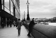 Looking over The River Thames (DaniellaSevern) Tags: london londonstreets thethames theriverthames lifestylephotography peoplephotography people peoplewatching streetphotography filmphotography blackandwhitefilm colourfilm filmcamera film olympusom10 olympus kodak kodakultramax ultramax400