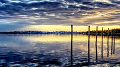 Brenton Cove at Daybreak (iecharleton) Tags: seascape landscape coast coastal daybreak dawn sunrise sunset coulds sky reflection city town dock newport rhodeisland ri newengland pier