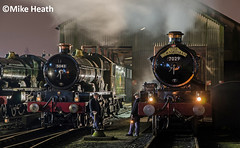 Castles on shed at night - Tyseley - 13 April 2018  (6) (Mike Heath Photo) Tags: tyseley loco locomotive works birmingham railway museum uk steam train trains 5080 defiant 5043 earl mount edgecumbe 7029 clun castle class gwr great western night time nightshift 30742 charter charters vintage footplate crew
