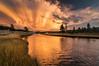 Firehole River, Yellowstone National Park (Brandon Kopp) Tags: raw yellowstonenationalpark wyoming unitedstates us fireholeriver clouds cloudy sunset mammatusclouds river reflection reflecting vacation weather lightroom tripod 1116mm nikon d300 nature landscape landscapephotography sky light