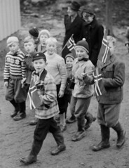 Main display event (theirhistory) Tags: children boys kids school class form jumper flag trousers jacket shoes wellies hat boots