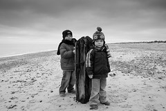 Boys in black and white (D.R.M.S.) Tags: caister beach joshua samuel sea
