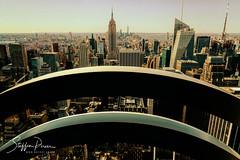 Skyline of New York (svpe4711) Tags: view landmark usa architektur building window rockefellercenter empirestatebuilding us skyscraper newyork sony vacation gebäude architecture ny bluesky sky skyline urban buildings bigapple travel nyc hochhaus fenster stadt hochhäuser america amerika city a6000