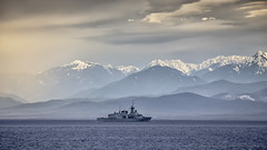 HMCS Calgary (Paul Rioux) Tags: hmcs calgary canadian armed forces royal navy naval military warship ships boat vessel frigate olympic mountains clouds weather scenic backdrop prioux salish sea
