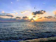 Sunabe Sunset (Black Fin Grouper) Tags: yeahiknowshawnmiller okinawa japan seawall sunabe beach sunset setting sun dusk ocean water blue bluewater