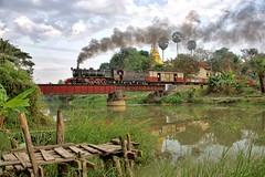 Yinnyein Burma 12th January 2018 (loose_grip_99) Tags: burma myanmar asia railway railroad rail train steam engine locomotive br yd 282 967 bridge river pagoda transportation farrail gassteam trains railways smoke january 2018 yinnyein