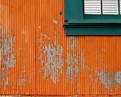photo - Wall and Window, Mare Island (Jassy-50) Tags: photo vallejo california mareisland mareislandnavalshipyard wall window orangegreen colorful old corrugated colorfularchitecture californiahistoricallandmark nationalhistoriclandmark nhl chl chl751