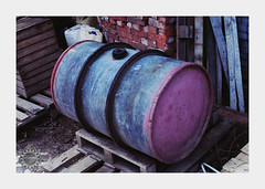 Inexplicable pink (lophophora_art) Tags: pink barrel box vivid color colors village industry wood chaos mess