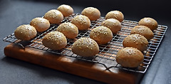 Photo#87-Sprouted Spelt Sesame Seed Slider Buns-Yum! (☁☂It's Raining, It's Pouring☂☁) Tags: 365the2018edition 3652018 day87365 28mar18 buns slider 16 freshoutoftheoven sesame sproutedspelt bread
