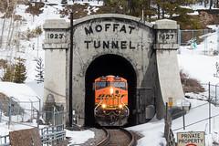 Wrong Shade of Black and Orange (Jake Branson) Tags: train railroad tunnel moffat locomotive ge es44dc bnsf up union pacific colorado co winter park snow west portal gevo