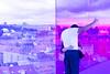 Purple selfie (Maerten Prins) Tags: arhus aarhus denmark denemarken museum rainbow panorama olafur eliasson aros colour color purple curve glass person man couple selfie selfportrait sky