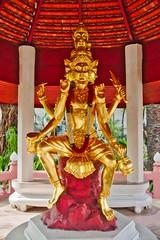 Golden statue of Hindu deities in the garden of Erawan museum in Samut Phrakan near Bangkok, Thailand (UweBKK (α 77 on )) Tags: golden statue hindu deities gods lakshmi brahma vishnu park garden erawan museum religion religious samut phrakan province bangkok thailand southeast asia sony alpha 77 slt dslr