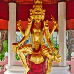 Golden statue of Hindu deities in the garden of Erawan museum in Samut Phrakan near Bangkok, Thailand thumbnail