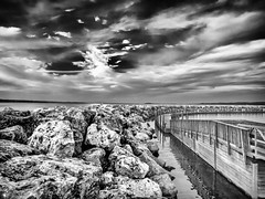 Sky and Sea (David Cornwell) Tags: greatlakes lakemichigan michigan olympus traversecity usa westarmgrandtraversebay geotagged lake map mapped outdoors scenic seascape us blackandwhite
