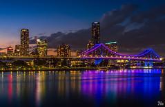 Brisbane City Lights 2 (mark.iommi) Tags: newfarm queensland australia au brisbane brisbaneriver storybridge aus dusk bluehourcolour reflections cityscape citylights