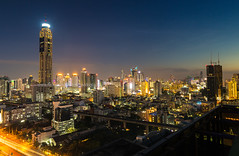Bangkok Skyline and beautiful Sky. (baddoguy) Tags: architecture bangkok building exterior capital cities city cityscape color image copy space dramatic sky dusk economy famous place finance horizontal igniting international landmark landscape local loneliness modern national night no people orange outdoors photography road street tall high thailand tourism tranquility transportation travel destinations twilight urban skyline
