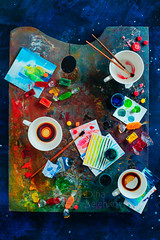 Tea for an Artist (Dina Belenko) Tags: art artist tool brush oil paint drawing palette creative colorful vivid design background dark artistic color abstract canvas creativity acrylic dirty table colors craft topview antique materials bright closeup cool decor decorative draw education graphics gray handmade idea one stained copyspace spot stain swatch watercolor inspiration work