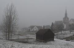 Foggy wrapping (:Linda:) Tags: germany thuringia village bürden mist snow fog church barn tree march23 nobw