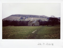 Thursday 22nd March (ronet) Tags: fuji thursdaywalk barn edale instantfilm instax instax200wide pasture peakdistrict scanned utata utata:project=tw622 england unitedkingdom