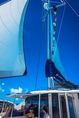 The ladies enjoying sailing in the Bahamas.