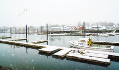 Snowy Harbor (JMS2) Tags: snow harbor boat offseason snowing flakes scenic water dock