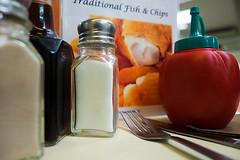 Southend on Sea Chippie (fstop186) Tags: fishandchips southendonsea ketchup salt pepper vinegar knifeandfork