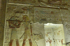 Temple of Seti I,  Second Hypostyle Hall Relief, Abydos (5).JPG (tobeytravels) Tags: egypt greattemple memorial chapels memnonium ramessesii hypostylehall osirisisisptah ptahsokar nefertem rehorakhty amun horus