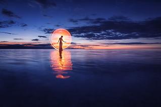 Sunrise light-painting