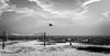 Face à la mer (10 MIX) Tags: sea ocean seagul mouette voletball sable desert massiveattack negressesvertes sl lr ps edit blackandwhite noiretblanc bw nb alone solitude monochrome secondlife clouds nuages ciel horizon