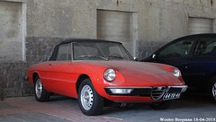 Alfa Romeo Spider 1975 (XBXG) Tags: 44yb46 alfa romeo spider 1975 alfaromeo ar red rood rouge cabriolet cabrio convertible roadster tourer pa verkuijllaan badhoevedorp viaduct nederland holland netherlands paysbas vintage old classic italian car auto automobile voiture ancienne italienne italie italia italy vehicle outdoor