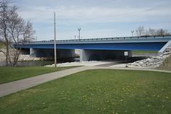 New bridge open for traffic (D. C. Wilson) Tags: bridge stone steel water road path reflection tree outdoor sky dayton