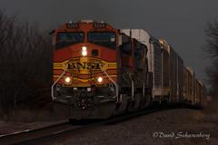 Crestbound Westbound (dscharen) Tags: bnsf bigrock trains illinois autorack sunset westbound aurorasub bnsfaurorasub shawrd shawroad h2 heritage2 h2paint ge