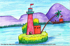 Island Watchtower (drawingtutorials101.com) Tags: island watchtower islands watch towers how draw color sketch drawing drawings colors pencil pencils speed