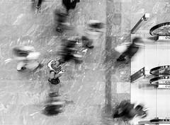 Keep Calm (CoolMcFlash) Tags: bnw bw blackandwhite people stop motion blur movement street streetphotography candid highangleview aerial vienna exposure sw schwarzweis bewegung walking gehen bewegungsunschärfe wien langzeitbelichtung fotografie photography anruf canon eos 60d tamron b008 18270 city citylife woman smartphone frau handy