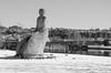 Rottejomfruen (The Rat-Wife) (AstridWestvang) Tags: river sculpture skien snow telemark