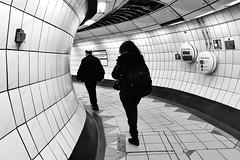 Shuttle Run (Douguerreotype) Tags: monochrome underground tiles city bw station uk metro british england tunnel blackandwhite mono subway urban britain london gb people tube bank