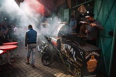 Marrakech (Mathijs Buijs) Tags: marrakesh marrakech street smoke stall man alley arab northern africa berber city canon eos 5d mark mk iii