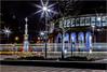 St. Peter's Square Cross. (Fermat48) Tags: centrallibrary metrolink tramstop station manchester nightshoot stpeterschurch templemoor stpetersfield lighttrails stpeterssquare