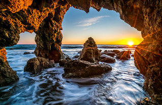 Sony A7RII Fine Art California Seascape Sea Cave Sunset!  Super Sharp Sony Carl Zeiss 16-35mm Vario-Tessar T FE F4 ZA OSS!  Malibu Seacave Sunsetst! HDR Landscape Photos! Dr. Elliot McGucken Fine Art Photography!