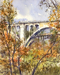 ColoradoStBridge2 (Sherry Schmidt) Tags: pleinair city urban watercolor watercolour landscape pasadena california ca bridge trees landmark historic 1912 art painting