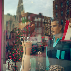 East Village Vibes (colinpoe) Tags: mannequin street reflection ektar100 storefront mediumformat urban rolleiflexautomat 6x6 120 nyc newyorkcity rolleiflexautomatk4a shopwindow tlr kodakfilm manhattan rolleiflex eastvillage