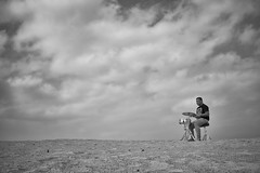 Karl-Joseff on drums (Sjaco Manuputty) Tags: musician drums drummer clouds cloud cloudscape sky hogeveluwe nationalpark bnw blackandwhite blackandwhitephotography people landscape portrait sand netherlands dutchlandscape