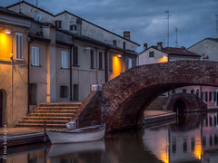 Comacchio, Italy (Mia Battaglia photography) Tags: village water nightscape night hdr comacchio italy boat bridge camera:model=penf camera:make=olympus exif:make=olympus exif:model=penf exif:isospeed=500 exif:focallength=45mm exif:aperture=ƒ18 exif:lens=olympusm45mmf18 bluehour