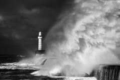 BWP_6067_bw (b_jw40) Tags: aberdeen aberdeenbeach harbour breakwater lighthouse wave sea wild storm monochrome mono blackandwhite